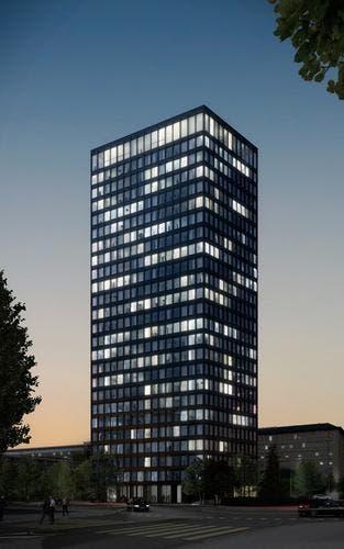 So soll das höchste Gebäude des Kantons Zug in der Nacht dereinst aussehen. (Bild: PD)