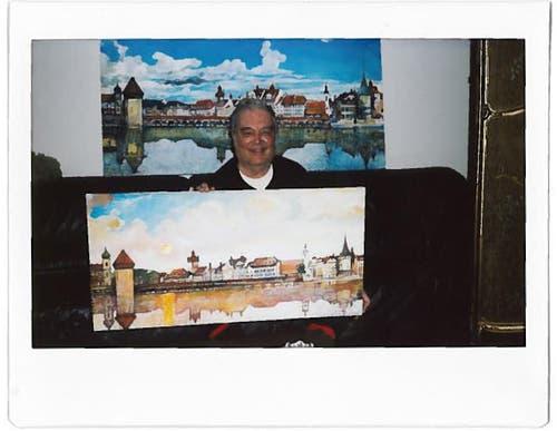 Mein Mann ist Kunstmaler und hat für einen Freund ein Ölbild von Luzern gemalt, welches mir sehr gefallen hat. Daraufhin hat er (Adamo Pinarci) mir das gleiche Bild ganz gross gemalt, was mich sehr freut. (Bild: Marie-Thérèse Moser)