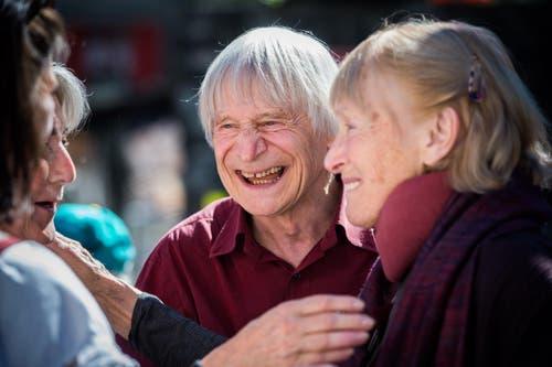Dimitri und seine Ehefrau bei dessen 80. Geburtstag im September 2015. (Bild: Keystone / Samuel Golay)
