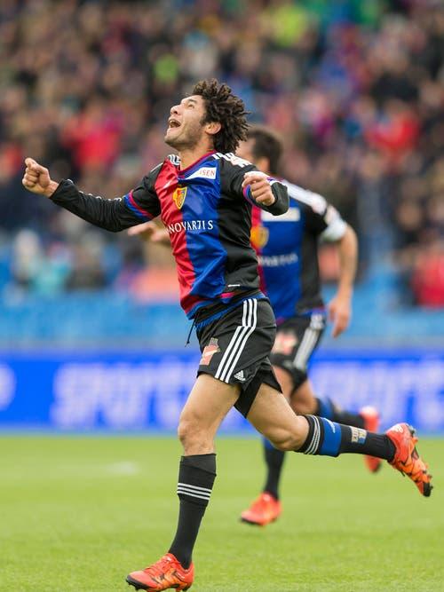 Mohamed Elneny jubelt nach seinem Treffer zum 3:0. (Bild: Keystone / Georgios Kefalas))