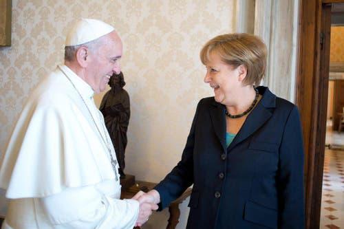 Die deutsche Bundeskanzlerin Angela Merkel besuchte Franziskus am 18. Mai 2013. (Bild: Keystone)