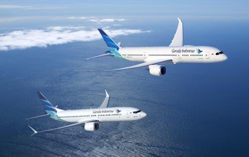 Boeing 737-8 (vorne) und 787-8 Dreamliner (hinten) der indonesischen Fluggesellschaft Garuda Indonesia. Boeing und Garuda Indonesia haben am Montag mitgeteilt, dass Garuda Indonesia 30 787-9 Dreamliner und bis zu 30 737 MAX 8 Flugzeuge kaufen will. (Bild: BOEING / HO)
