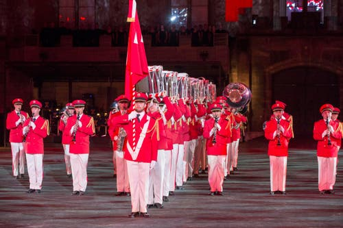 The Swiss Army Central Band aus der Schweiz. (Bild: Keystone / Patrick Staub)