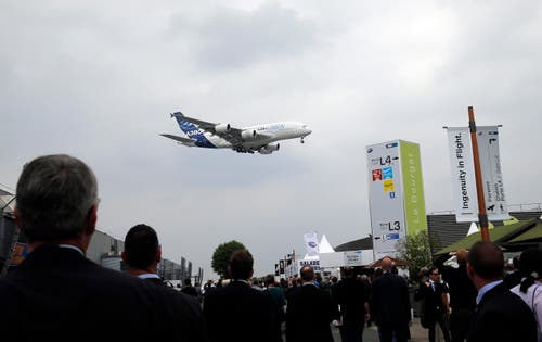 Besucher schauen sich gespannt den Demonstrationsflug des Airbus A380 an. (Bild: Christophe Ena)