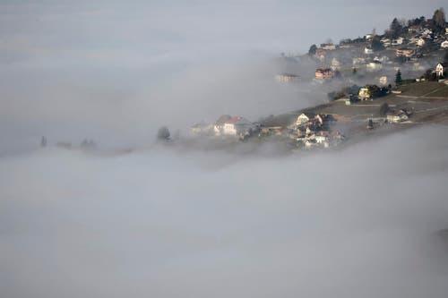 Nebel über dem Genfersee im Lavaux. (Bild: Keystone)