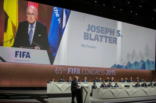 Für ihn geht es am 65. Fifa-Kongress un die Macht: Sepp Blatter will für eine fünfte Amtszeit Fifa-Präsident sein. (Bild: KEYSTONE/PATRICK B. KRAEMER)