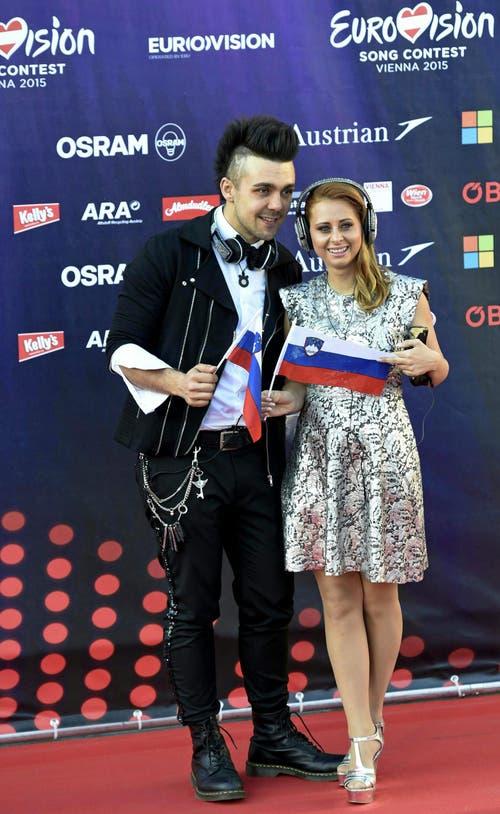 Raay und Marjetka Vovk von der Band Maraaya, Slowenien. (Bild: Keystone)