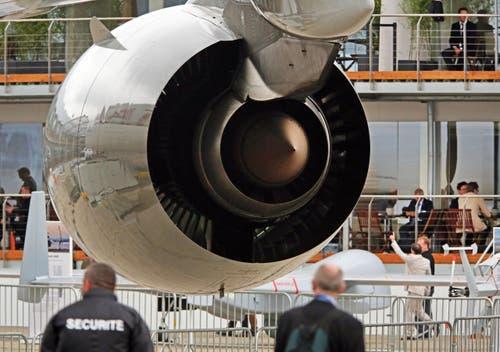 Die Rolls Royce Jet-Maschine eines Qatar Airways Airbus A 380. (Bild: Remy de la Mauviniere)
