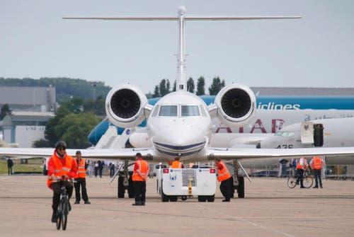 Eine U.S Gulfstream N450 GA Passagiermaschine bei der Ankunft. (Bild: Jacques Brinon)