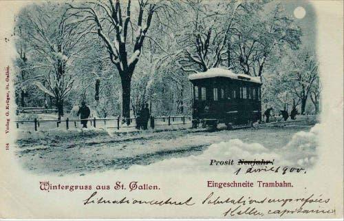 Ein eingeschneites St.Galler Tram (1897) (Bild: Stadtarchiv der Ortsbürgergemeinde St.Gallen)