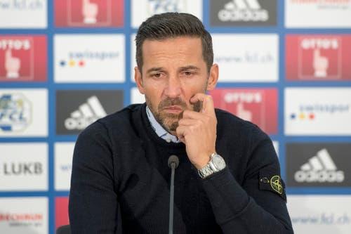 Enttäuscht, zerknirscht, ratlos: Joe Zinnbauer nach der jüngsten 0:3-Pleite beim FC Luzern. (Bild: URS FLUEELER (KEYSTONE))