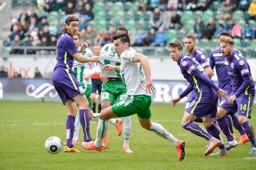 Guter Auftritt, keine Punkte: Am 7. Februar 2016 verliert der FCSG zum Auftakt der Rückrunde daheim 1:2 gegen Thun. (Bild: Ralph Ribi)