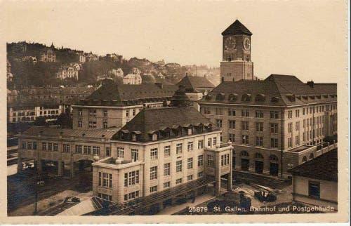 Das St.Galler Bahnhofsquartier mit der Hauptpost und Tramschienen. (Bild: Stadtarchiv der Ortsbürgergemeinde St.Gallen)