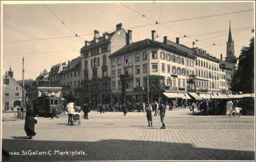 Der St.Galler Marktplatz. (1925-1930) (Bild: Stadtarchiv der Ortsbürgergemeinde St.Gallen)