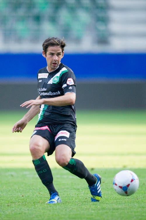 Mario Schönenberger konnte sich beim FC St.Gallen zu keiner Zeit einen Stammplatz erkämpfen. In der Europa League setzte ihn Trainer Jeff Saibene trotzdem als Teilzeitarbeiter ein. Schönenberger ist mittlerweile nicht mehr im Spitzenfussball aktiv. (Bild: Urs Jaudas)