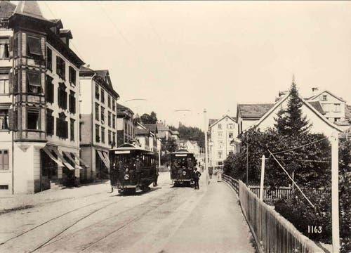 Ein St.Galler Tram im Quartier Lachen (1897) (Bild: Stadtarchiv der Ortsbürgergemeinde St.Gallen)