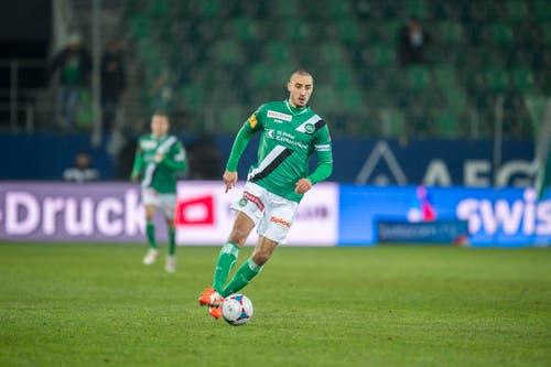 Stéphane Nater kam im Sommer 2012 von Servette Genf zum FC St.Gallen. Zwei Spielzeiten später mussten ihn die Espen wieder ziehen lassen. Er wechselte zum Club Africain Tunis in Tunesien. Ablösesumme: 440'000 Franken. (Bild: Urs Bucher)