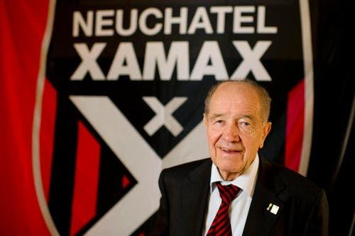 DER MÄZEN: Gilbert Facchinetti kennt jeder Fussballexperte oder –fan in der Schweiz. Von 1979 bis 2003 war er Präsident von Neuchâtel Xamax. Dabei führte er den Club von der Ersten Liga an die Schweizer Spitze. Der 81-Jährige ist heute Ehrenpräsident des Vereins. Jeder Spieler, der einmal bei Xamax angeheuert hat, erinnert sich an den verdienstvollen Präsidenten, die Vaterfigur in der «Familie Xamax». (Bild: Freshfocus)