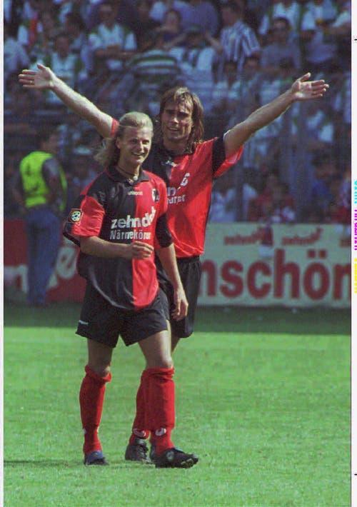 Nach einer Saison bei Bayern München wechselt Sutter innerhalb der Bundesliga zum SC Freiburg. Unser Bild stammt vom 17. August 1996. (Bild: Keystone)