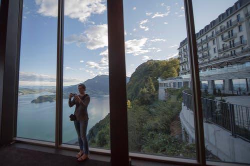 Sicht aus dem Bürgenstock-Hotel auf das Palace-Hotel. (Bild: Urs Flüeler / Keystone)