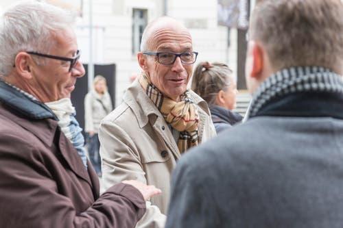 Der St.Galler Regierungsrat Martin Klöti (links) und Stadtpräsident Thomas Scheitlin. (Bild: Hanspeter Schiess)