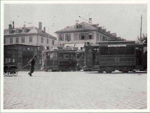 St.Galler Trams vor dem Café Seeger (1900-1910) (Bild: Stadtarchiv der Ortsbürgergemeinde St.Gallen)