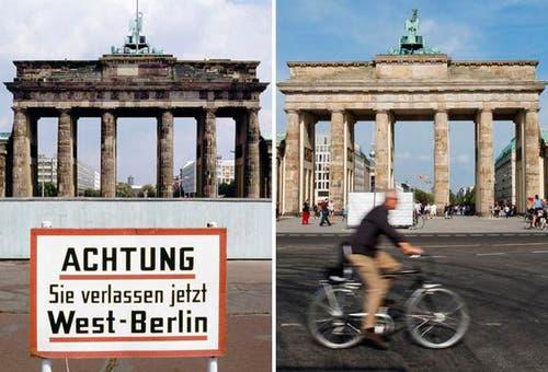 Die Bildkombo zeigt das Brandenburger Tor in Berlin hinter der Mauer und einem Hinweisschild mit der Aufschrift «Achtung, Sie verlassen jetzt West-Berlin» (Foto vom Juli 1981, l.) und das Brandenburger Tor in Berlin mit einem Radfahrer davor (Foto vom 03.08.11, r.). (Bild: Keystone)