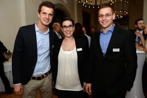 Hackbrett-Musiker und TV-Moderator Nicolas Senn, Ex-Apfelkönigin Stephanie König und Steve Schild, Marsmensch in spe (v.l.). (Bild: Nana do Carmo)