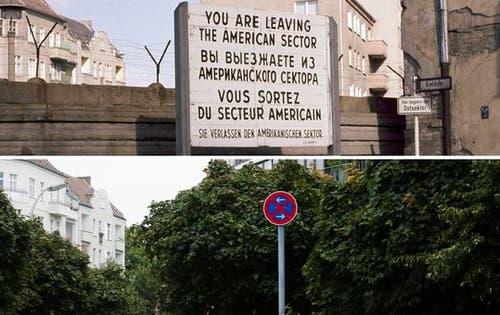 Die Bildkombo zeigt die Mauer und ein Hinweisschild zur amerikanischen Sektorengrenze in Berlin-Neukölln am Kiehlufer an der Mauer (Foto vom 12.03.1971, oben) und den selben Ort ohne Mauer und ohne Hinweisschild (Foto vom 04.08.11, unten). (Bild: Keystone)