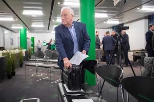 """""""Wir haben uns für einen Neustart in der Clubführung entschieden."""" Aktionär Edgar Oehler an der Medienkonferenz im Dezember, an der bekannt wird, dass Matthias Hüppi neuer Präsident des FC St.Gallen wird. (Bild: Keystone)"""