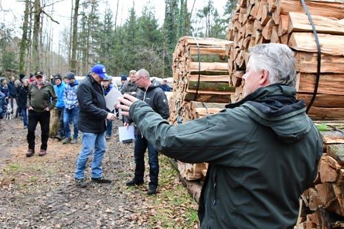 Die Holzgant fand am Morgen statt. Förster Hansruedi Gubler leitete die Holzgant mit guten Holzpreisen. (Bild: Werner Lenzin)