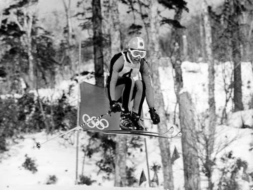 Bernhard Russi holt Gold in der Abfahrt. (Bild: Keystone/Str)