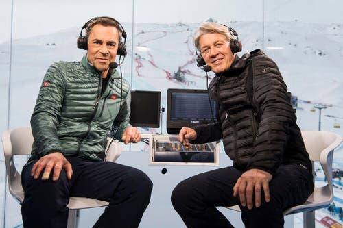 """""""Bernhard hat zu meiner Frau gesagt, sie könne mich bei Bedarf bei ihm abgeben."""" Matthias Hüppi, nachdem er im Februar mit Bernhard Russi an der Ski-WM in St.Moritz sein letztes Skirennen kommentiert hatte. (Bild: Keystone)"""