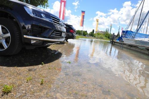 In Romanshorn reicht das Wasser bis knapp zum Parkplatz am Hafen. (Bild: Markus Schoch)