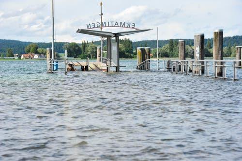 Hochwasser am Hafen von Ermatingen. (Bild: Donato Caspari)