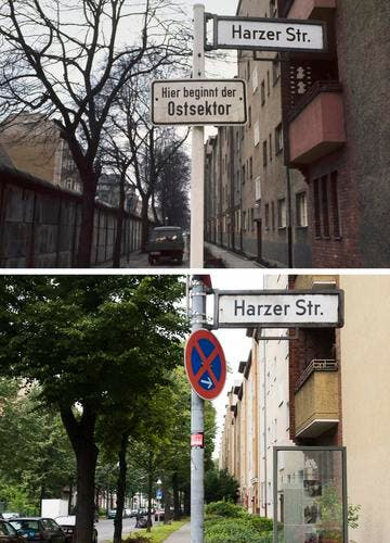 Die Bildkombo zeigt ein Schild der Harzer Strasse in Berlin-Neukölln mit einem Hinweisschild mit der Aufschrift «Hier beginnt der Ostsektor», während im Hintergrund die Mauer in Berlin zu sehen ist (Foto vom 08.03.1973, oben) und den selben Ort ohne Mauer und ohne Hinweisschild (Foto vom 04.08.11, unten). (Bild: Keystone)