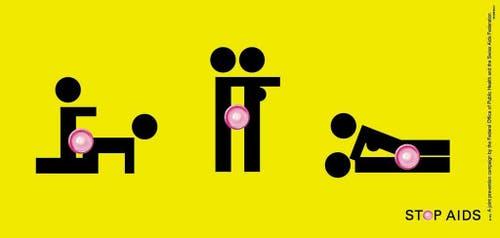 """Liebesspiele mit einem Kondom, dargestellt durch Piktogramme, eröffnen die Kampagne von 2004. Die schwarzen Botschaften auf gelbem Grund erinnern an die Praxis des """"Safer Sex"""". (Bild: Keystone)"""
