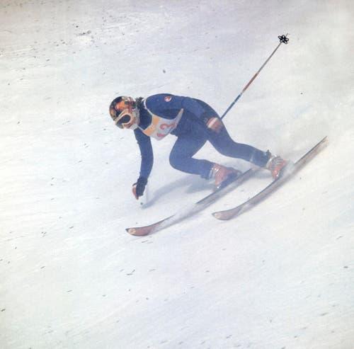 """Das Olympia-Märchen beginnt: Die Schweizer Skirennfahrerin Marie-Theres """"Maite"""" Nadig am 5. Februar 1972 bei der Abfahrt. Sie holt Gold. (Bild: Keystone/EPU/Str)"""
