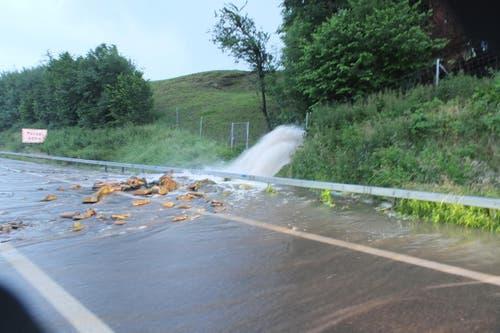 Die Autobahn A1 musste am Montagmorgen wegen einem Bach sowie einem Erdrutsch kurzzeitig gesperrt werden. (Bild: Kapo SG)