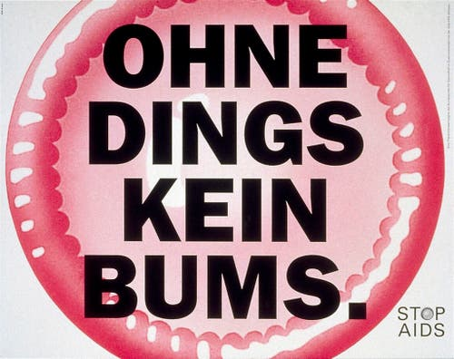 """Plakat für die """"Stop Aids""""-Kampagne vom Bundesamt fuer Gesundheit aus dem Jahr 1997. Gestaltet von der Basler Werbeagentur CR Basel. (Bild: Keystone)"""