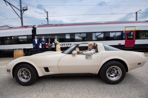 Bundespräsidentin Doris Leuthard wurde von Harry Hasler vorgefahren. (Bild: Urs Bucher)