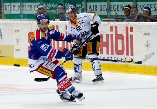 Zugs Jarkko Immonen (rechts) trifft ins leere Tor zum Schlussstand von 4:7. (Bild: Keystone / Patrick B. Krämer)