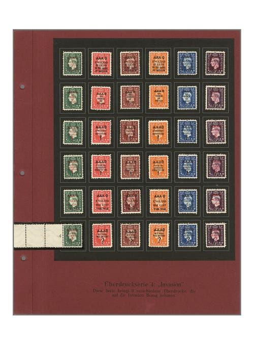 Auszug aus Deutschen Fälschungen für Grossbritannien mit «Welt-Raritäten» aus dem Zweiten Weltkrieg. Schätzung des erwarteten Verkaufspreises für diese Sammlung: 40'000 Franken. (Bild: pd)
