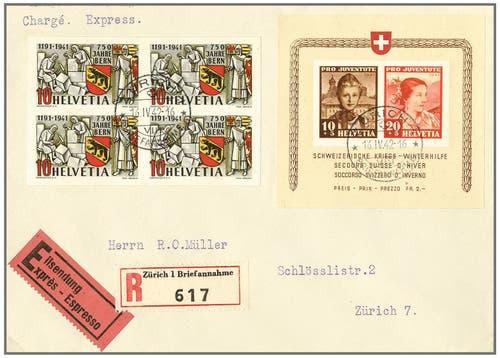 Ersttagesbrief aus den 1940er-Jahren. Auf Ersttagsbriefen kleben Marken, die an ihrem ersten Gültigkeitstag verschickt und gestempelt wurden. Solche Stücke liegen enorm im Trend, vor allem wenn die Qualität gut und der Brief selten ist. Erzielter Verkaufspreis: 10'980 Franken. (Bild: pd)