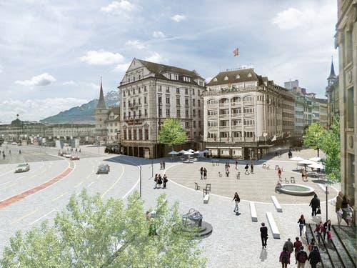 Ein wichtiges Ziel des Stadtrats ist, den Schwanenplatz carfrei zu gestalten. Visualisierung: Stadt Luzern