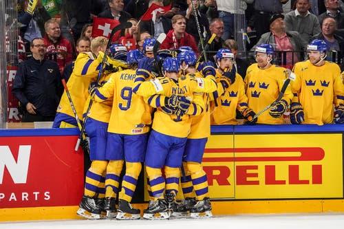 Die Schweden feiern ihr Tor zum 2:2. Bild: Andy Müller/Freshfocus (Kopenhagen, 20. Mai 2018)