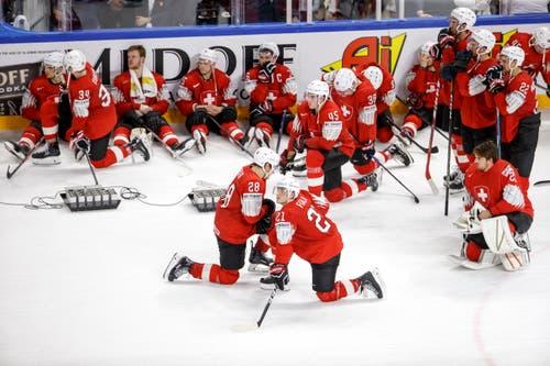 Unmittelbar nach dem Spiel ist die Enttäuschung bei den Schweizer Spielern gross. | Bild: Salvatore Di Nolfi / Keystone (Kopenhagen, 20. Mai 2018)