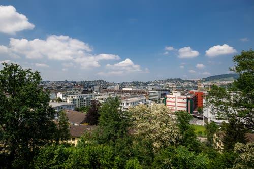 Aussicht auf die Stadt vom Freihof aus. (Bild: Philipp Schmidli (Luzern, 18. Mai 2018))