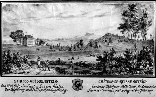 Der Freihof Geissenstein (links) auf einem Kupferstich um 1790. Hinten ist die Rigi zu sehen, rechts das Tribschengebiet. Perspektiven und Dimensionen auf der alten Ansicht sind nicht detailgetreu. (Bild: PD)