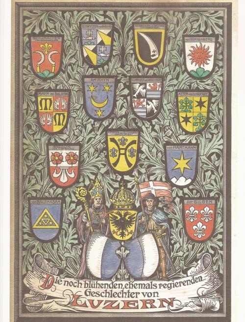 Die Familienwappen der noch heute aktiven (blühenden) ehemals regierenden Geschlechter von Luzern. (Bild: PD)